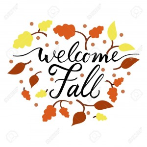 Modern brush phrase welcome fall. Background with the image of a leaf fall. fall with leaves.